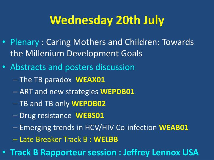 Wednesday 20th July