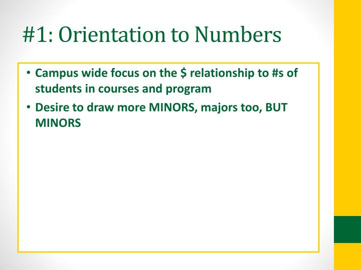 #1: Orientation to Numbers