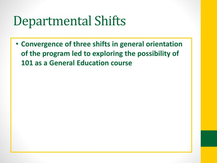 Departmental Shifts