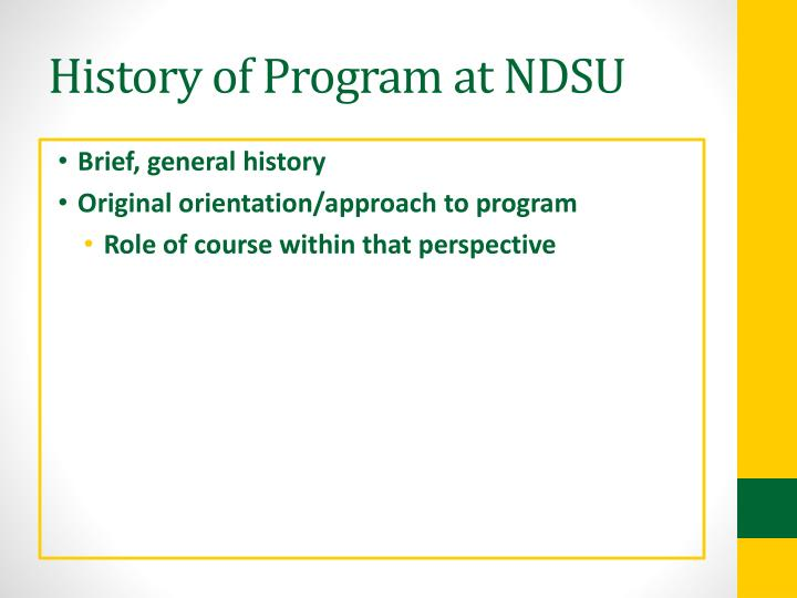 History of Program at NDSU