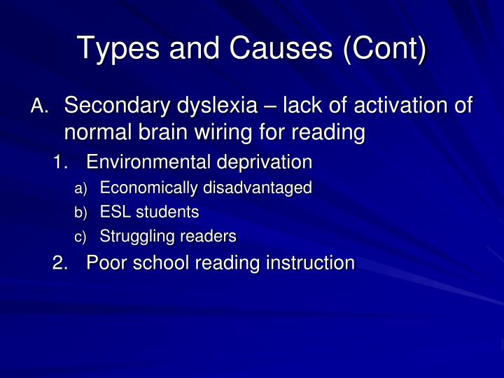 Types and Causes (Cont)