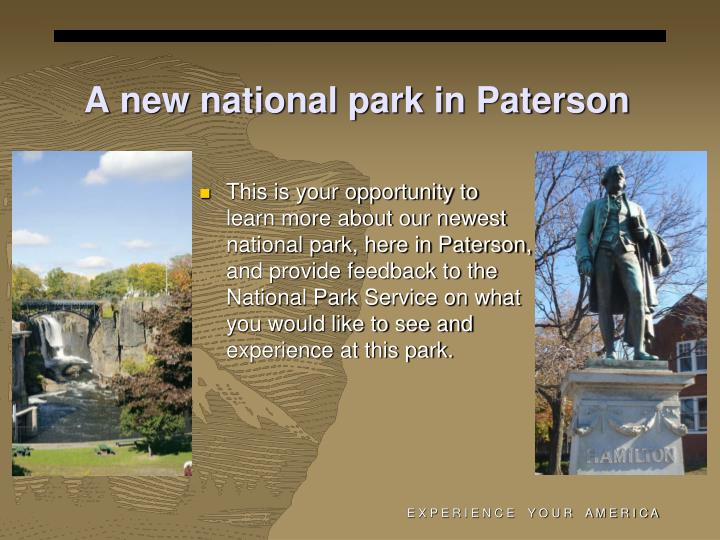 A new national park in Paterson