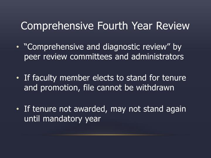 Comprehensive Fourth Year Review
