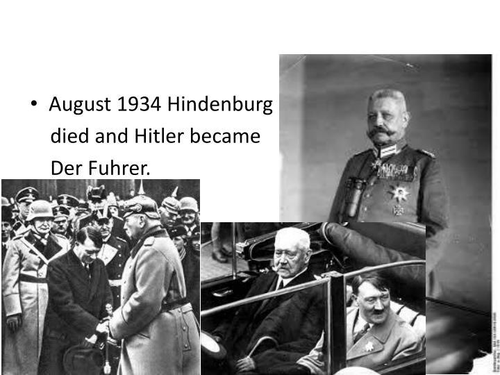August 1934 Hindenburg