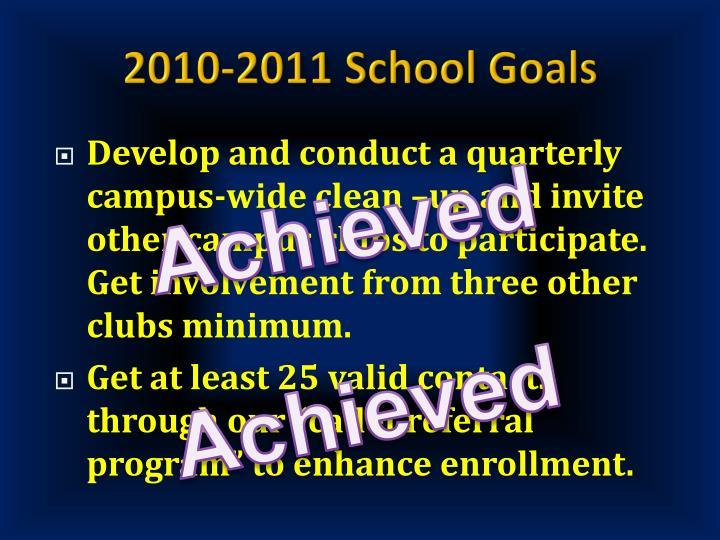 2010-2011 School Goals
