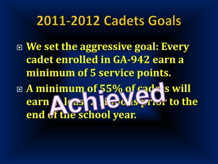 2011-2012 Cadets Goals