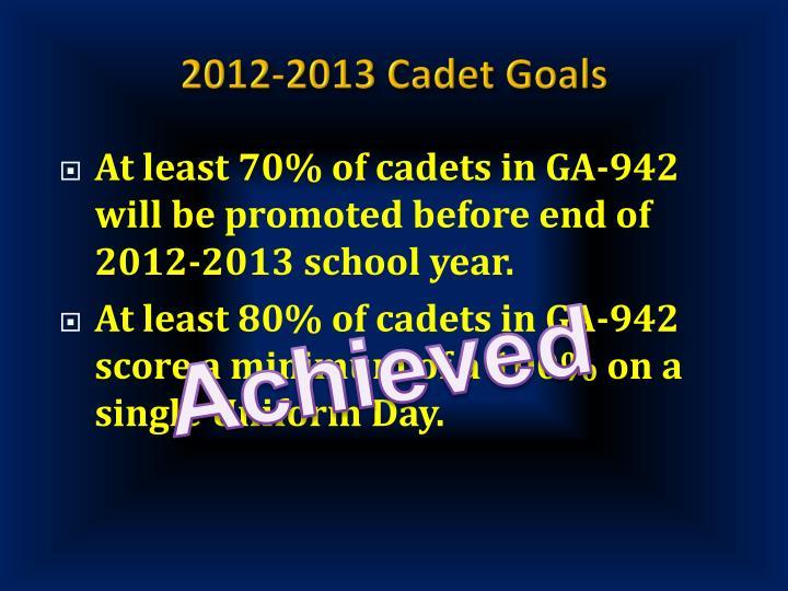 2012-2013 Cadet Goals