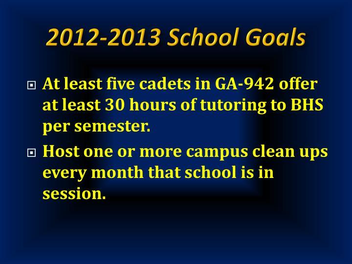 2012-2013 School Goals