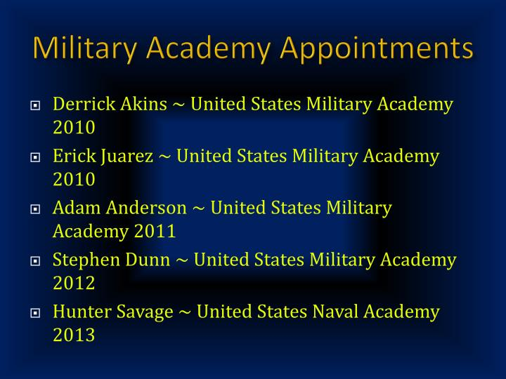 Military Academy Appointments