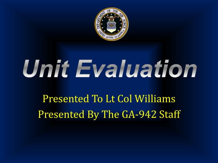Presented to lt col williams presented by the ga 942 staff