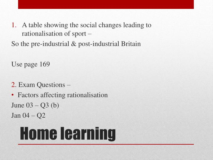 A table showing the social changes leading to rationalisation of sport –