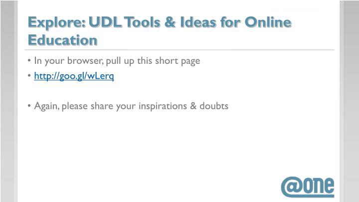 Explore: UDL