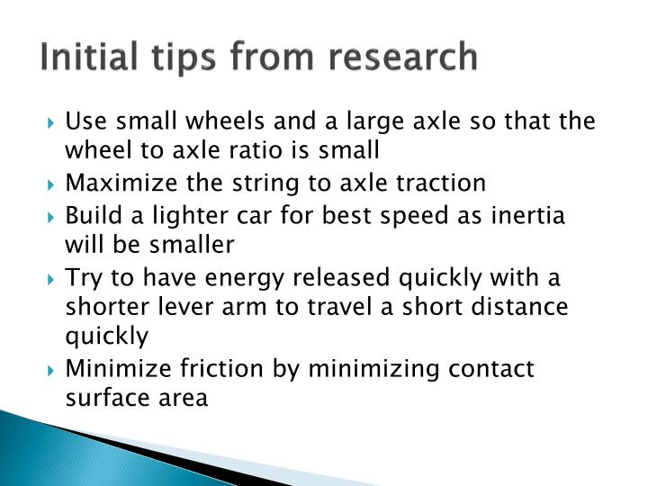 Initial tips from research