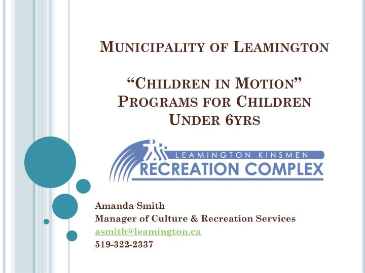Municipality of leamington children in motion programs for children under 6yrs