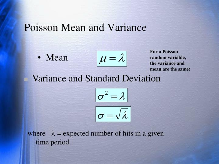 Poisson Mean and Variance