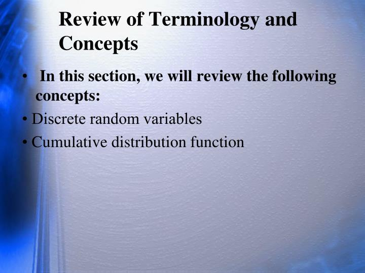 Review of Terminology and Concepts