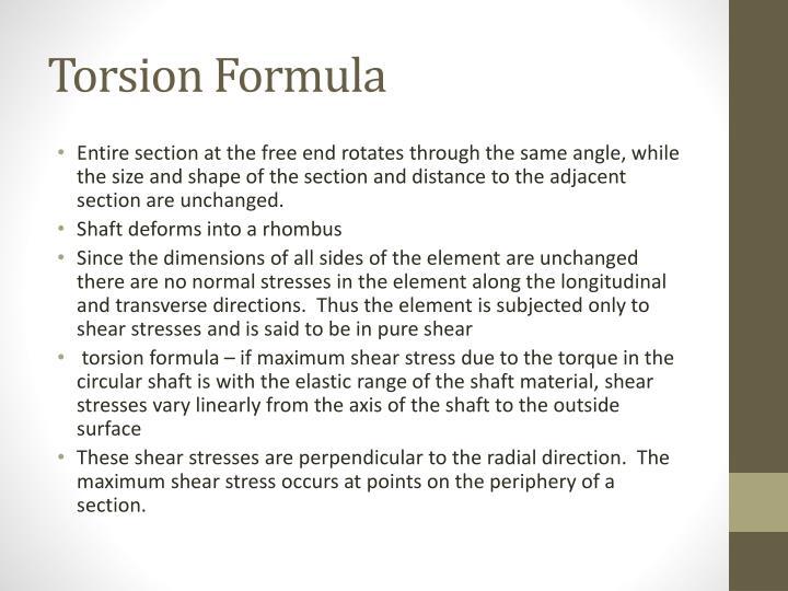 Torsion Formula