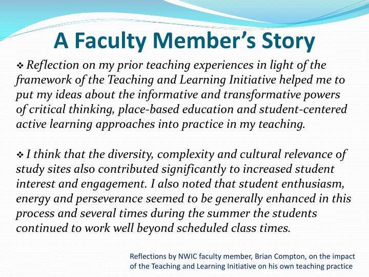 A Faculty Member's Story