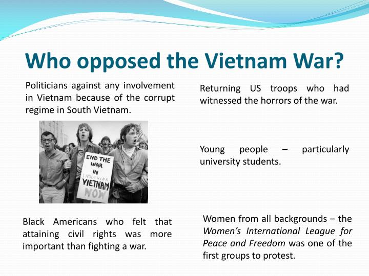 why did america become involved in the vietnam war The vietnam war being the first televised war hugely influenced it and seeing the happenings in vietnam many student protests took place in usa, especially after the mai lay massacre which shocked people being the evidence that something in this war has gone wrong n 1967 increase of bombing by more than 50%, generals still requsting more men.