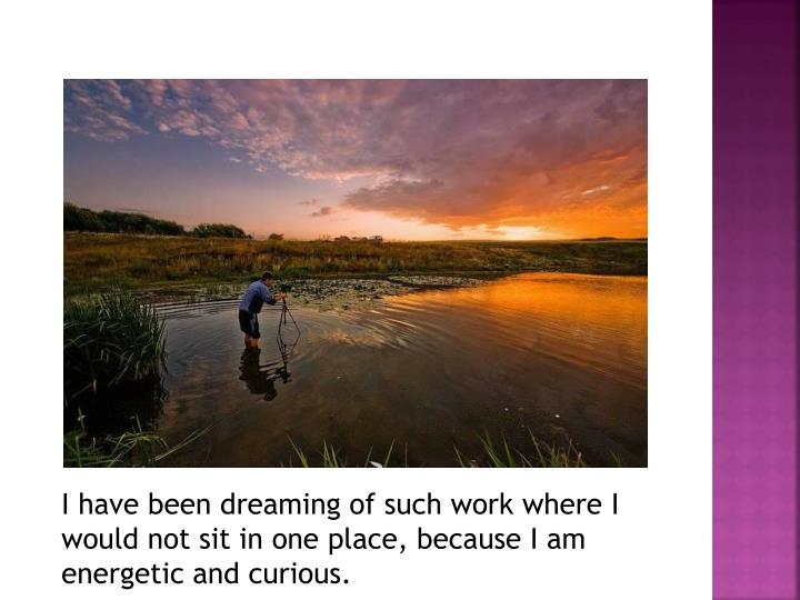 I have been dreaming of such work where I would not sit in one place, because I am energetic and curious.