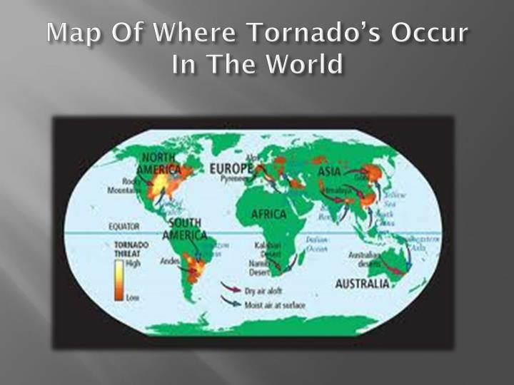 Map Of Where Tornado's Occur In The World