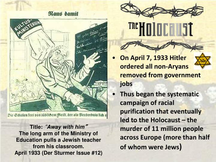 On April 7, 1933 Hitler ordered all non-Aryans removed from government jobs