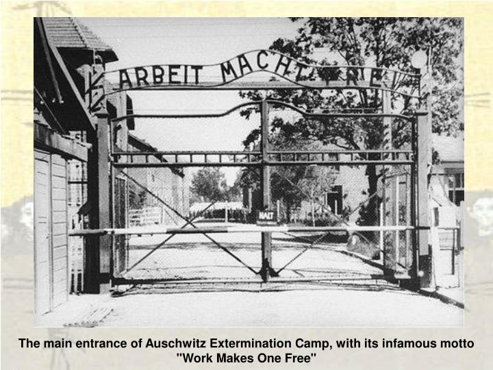 """The main entrance of Auschwitz Extermination Camp, with its infamous motto """"Work Makes One Free"""""""