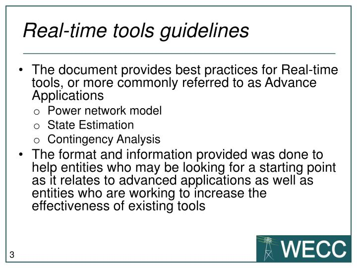 Real-time tools guidelines