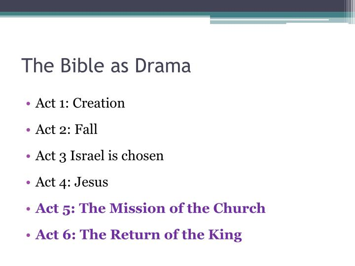 The bible as drama