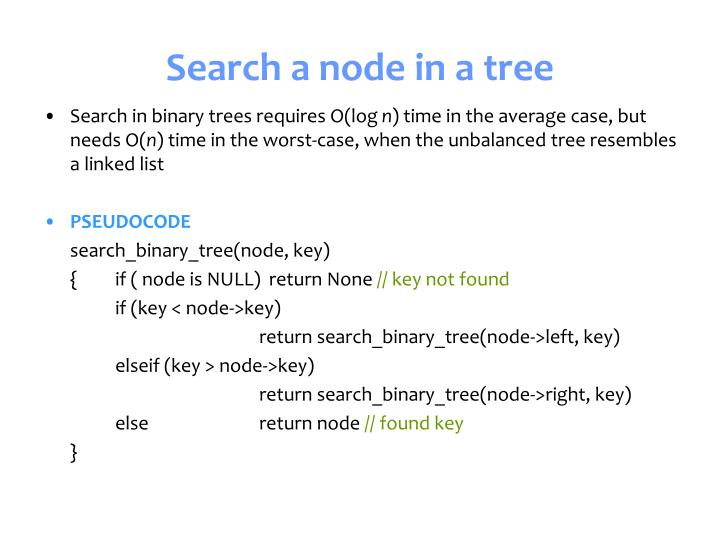 Search a node in a tree