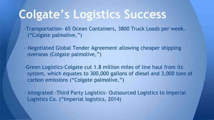 Colgate's Logistics Success