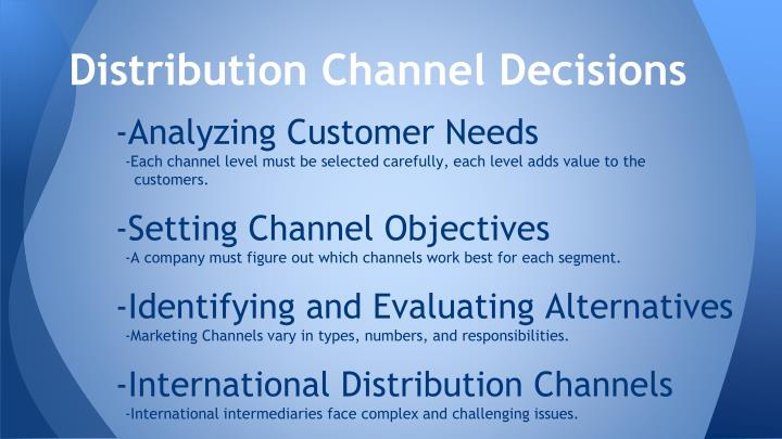 Distribution Channel Decisions