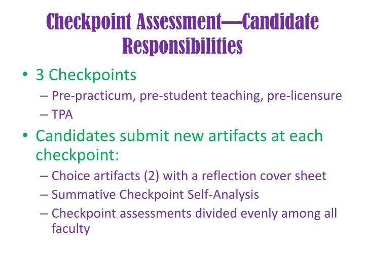 Checkpoint Assessment—Candidate Responsibilities