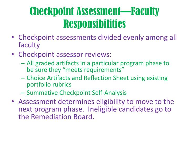 Checkpoint Assessment—Faculty Responsibilities