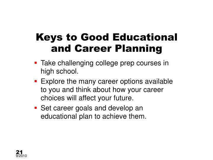 Keys to Good Educational and Career Planning