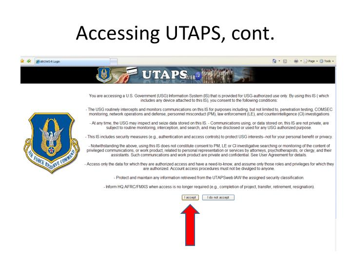 Accessing UTAPS, cont.