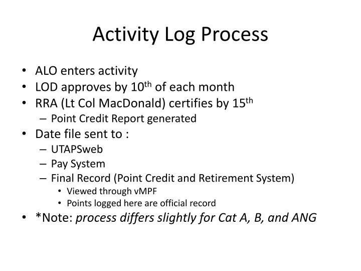 Activity Log Process
