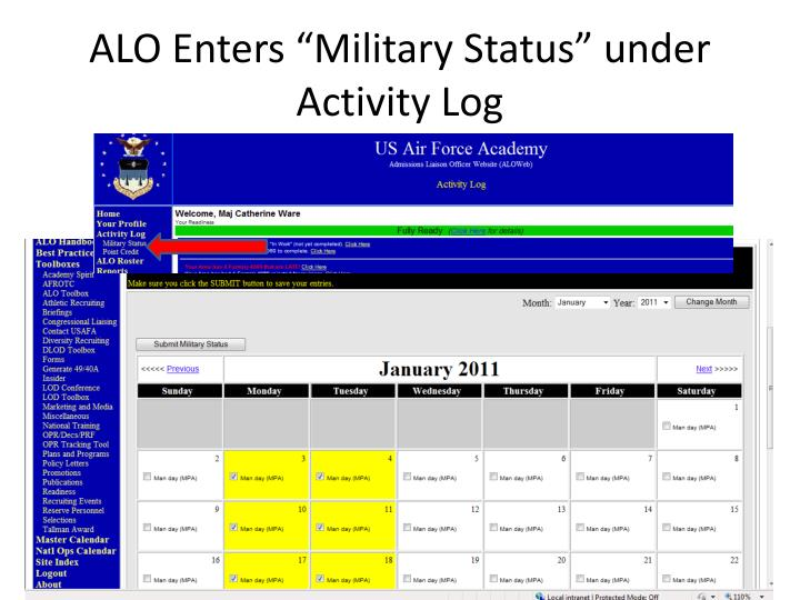 "ALO Enters ""Military Status"" under Activity Log"