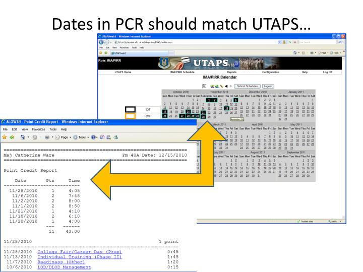 Dates in PCR should match UTAPS…