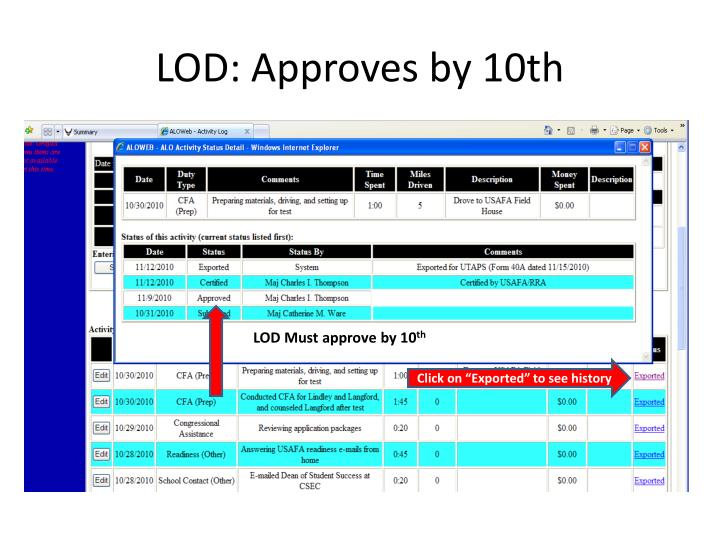LOD: Approves by 10th
