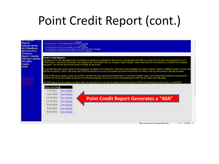 Point Credit Report (cont.)