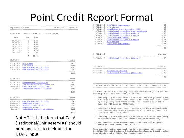 Point Credit Report Format