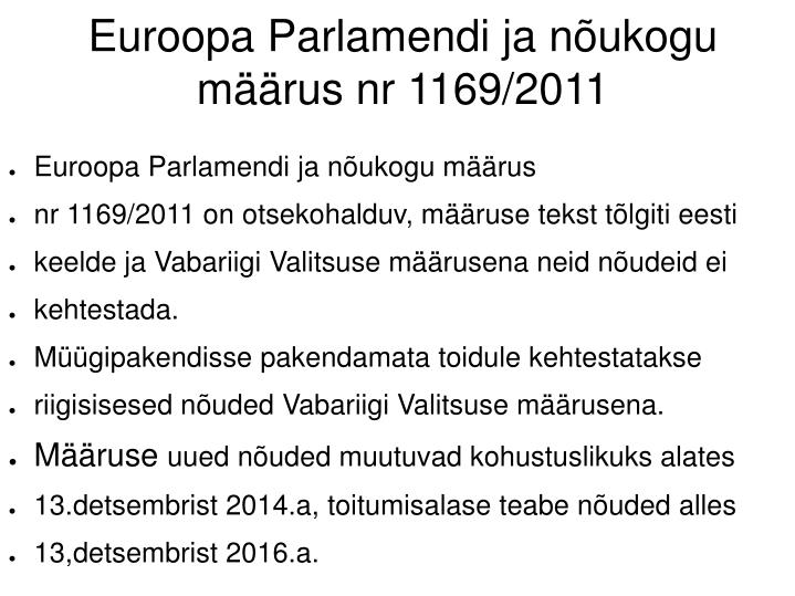 Euroopa Parlamendi ja nõukogu määrus