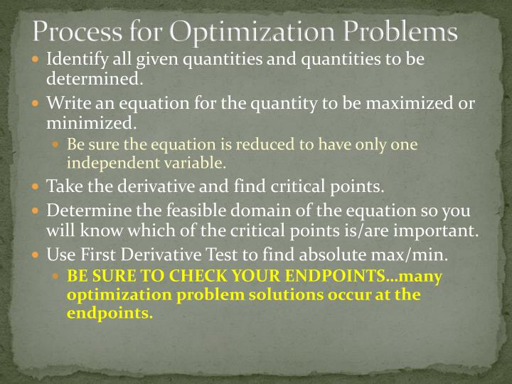 Process for Optimization Problems