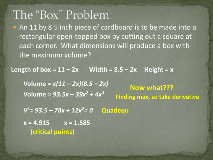 "The ""Box"" Problem"