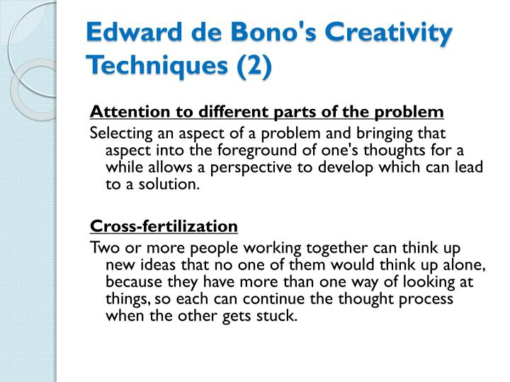Edward de Bono's Creativity Techniques (2)