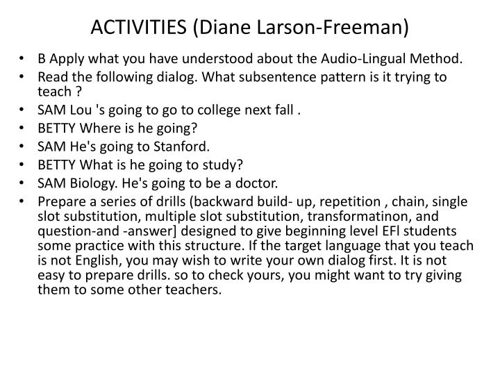ACTIVITIES (Diane Larson-Freeman)