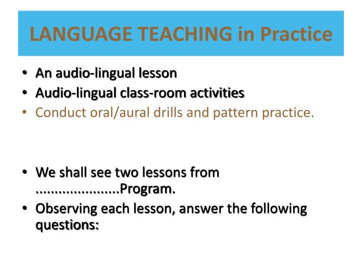 LANGUAGE TEACHING in Practice