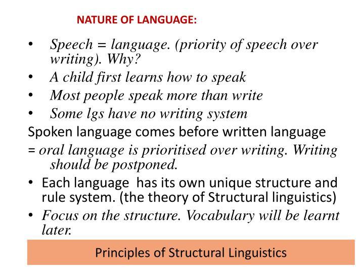 NATURE OF LANGUAGE: