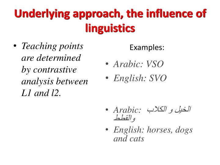 Underlying approach, the influence of linguistics